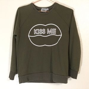 ASOS | 'KISS ME' Olive Green Crewneck Sweater